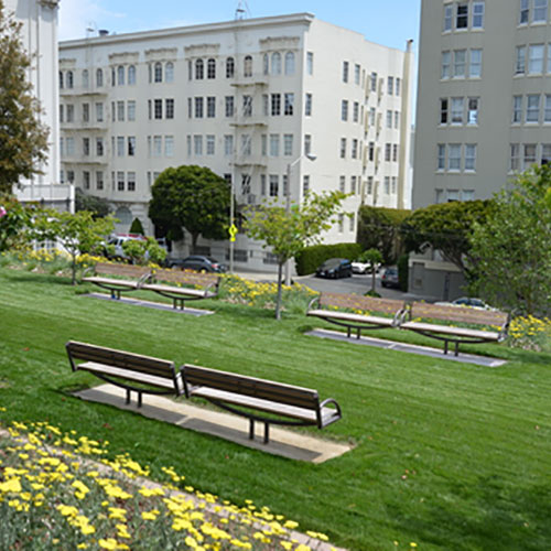 Park benches with custom landscaping and design, Lafayette Park