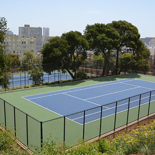 Blue concrete tennis court Lafayette Park San Francisco, CA