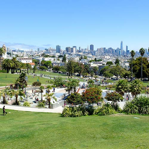 Concrete work and green space in Mission Dolores Park